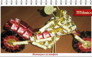 Как из конфет сделать мотоцикл